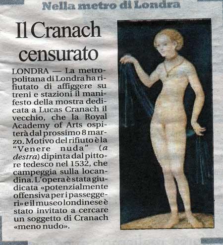 La Venere di Cranach, censurata a Londra (La Repubblica)