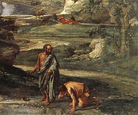 Nicolas Poussin, Diogene getta la scodella, 1648, Parigi, Museo del Louvre